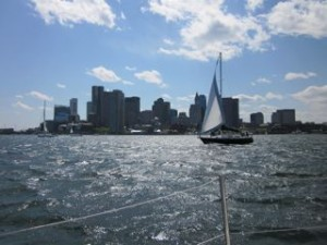 Photo of Boston SKyline from a sailboat
