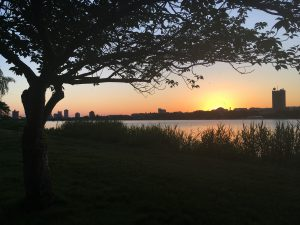 Photo of sunset on Charles River Esplanade Boston by Jen Matson